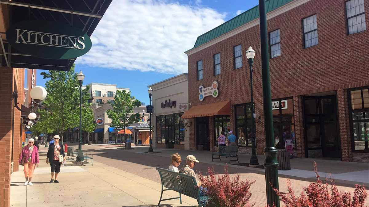 Store Fronts and People Walking at the Branson Landing - Branson, Missouri, USA