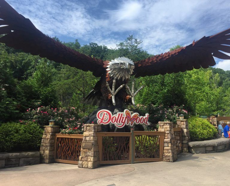 close up of wooden wild eagle sculpture at Dollywood in Pigeon Forge, Tennessee, USA