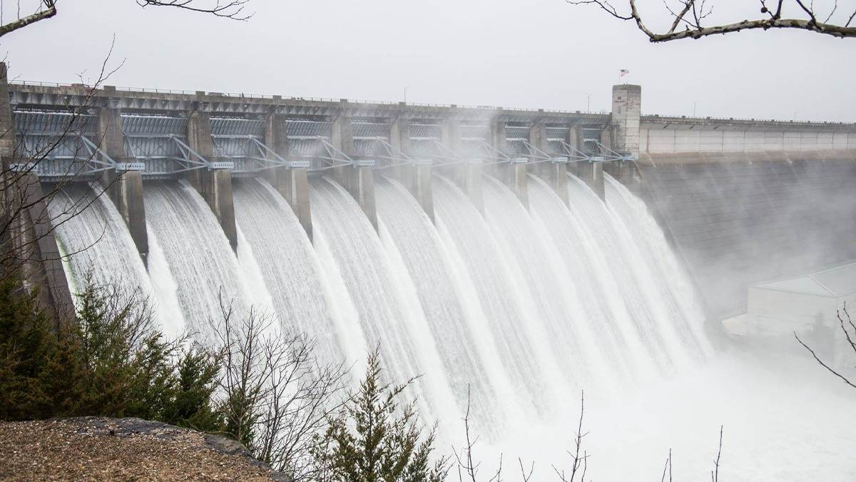 ground lake view of Table Rock Dam with rainbow in Branson, Missouri, USA