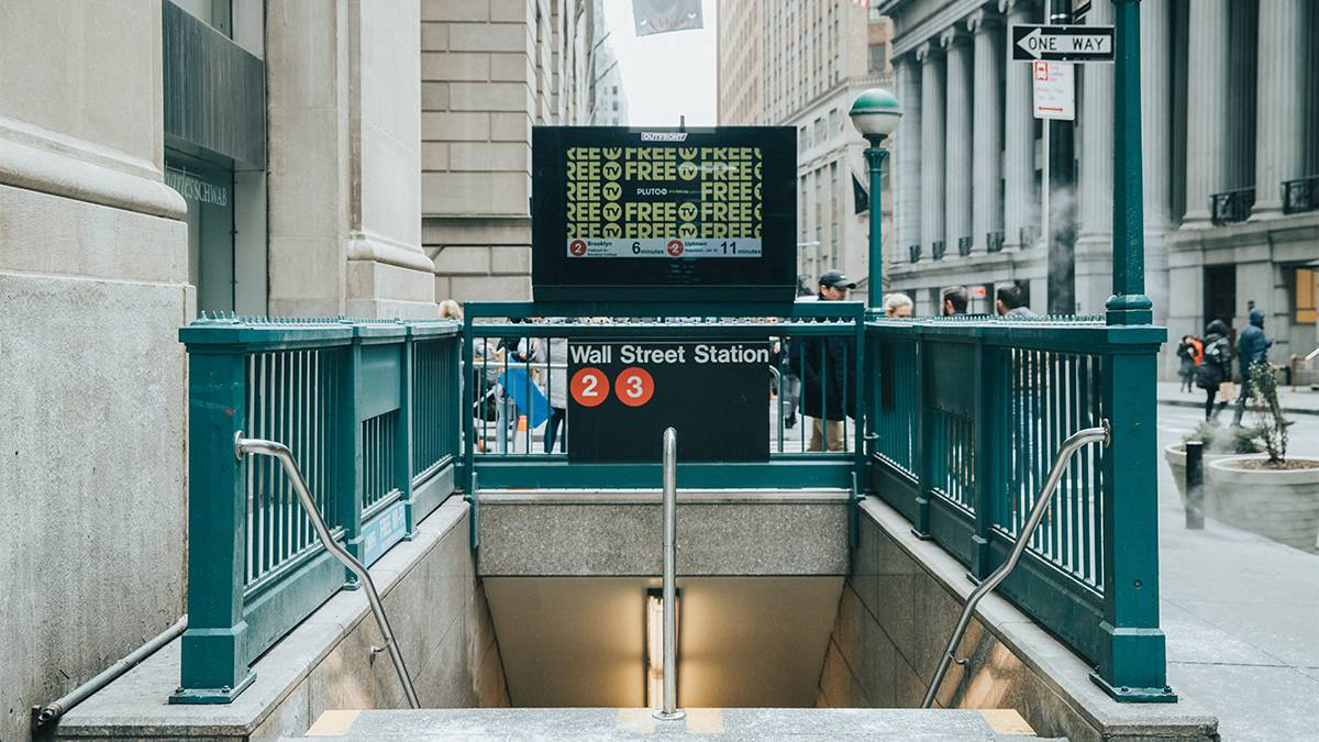 street view of sidewalk entrance into subway station in Manhattan in NYC, New York, USA