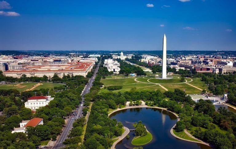 aerial drone view of the National Mall on a sunny day with blue skies in Washington D.C., USA