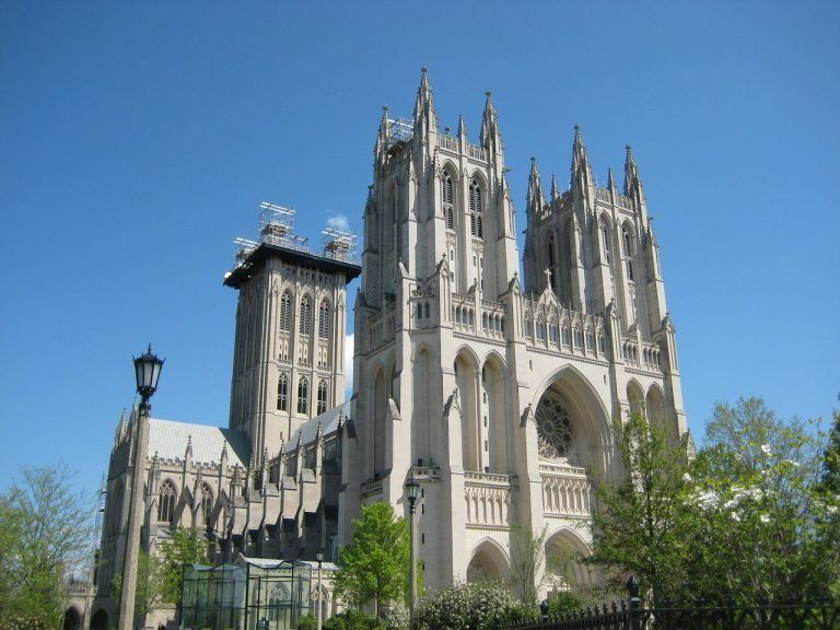 exterior ground view of the Washington National Cathedral on a sunny day in the summer in Washington D.C., USA