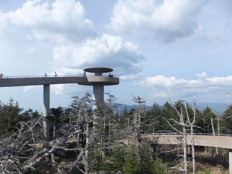 view of Clingman's Dome with The Great Smoky Mountains in the background in Gatlinburg, Tennessee, USA