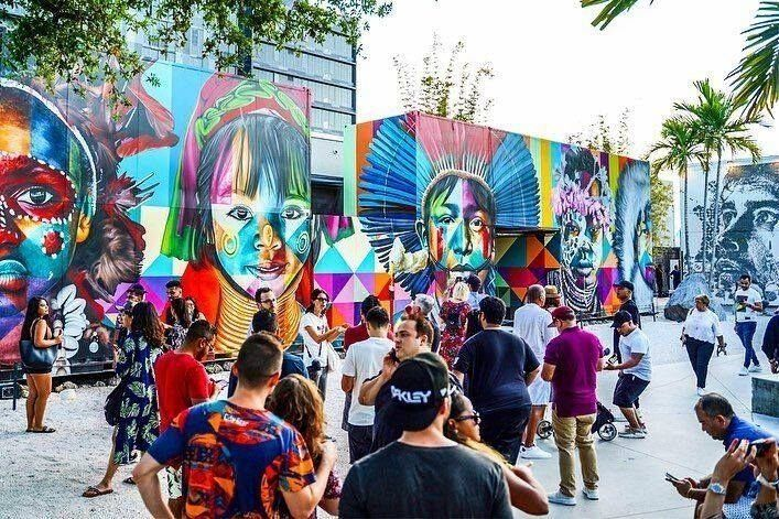 colorful street murals by artists from around the globe at Wynwood Walls in Miami, Florida, USA