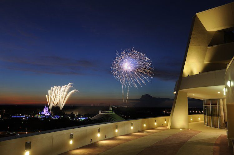 fireworks in the distance from Disney's Contemporary Resort in Orlando, Florida, USA