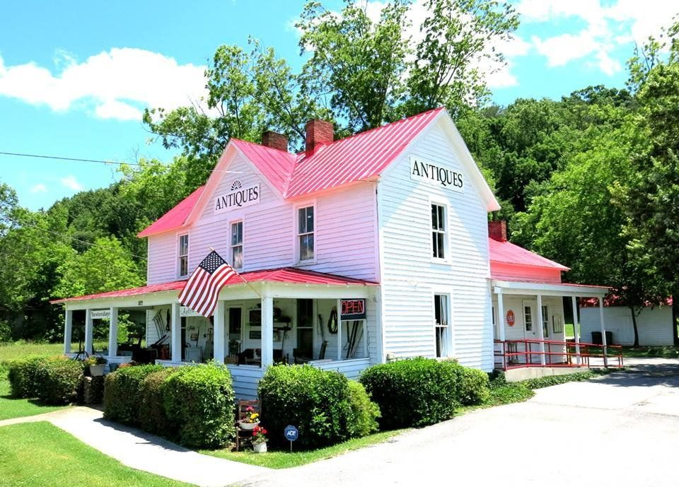 exterior ground view of yesterdays antiques store in the summer in pigeon forge tennessee usa