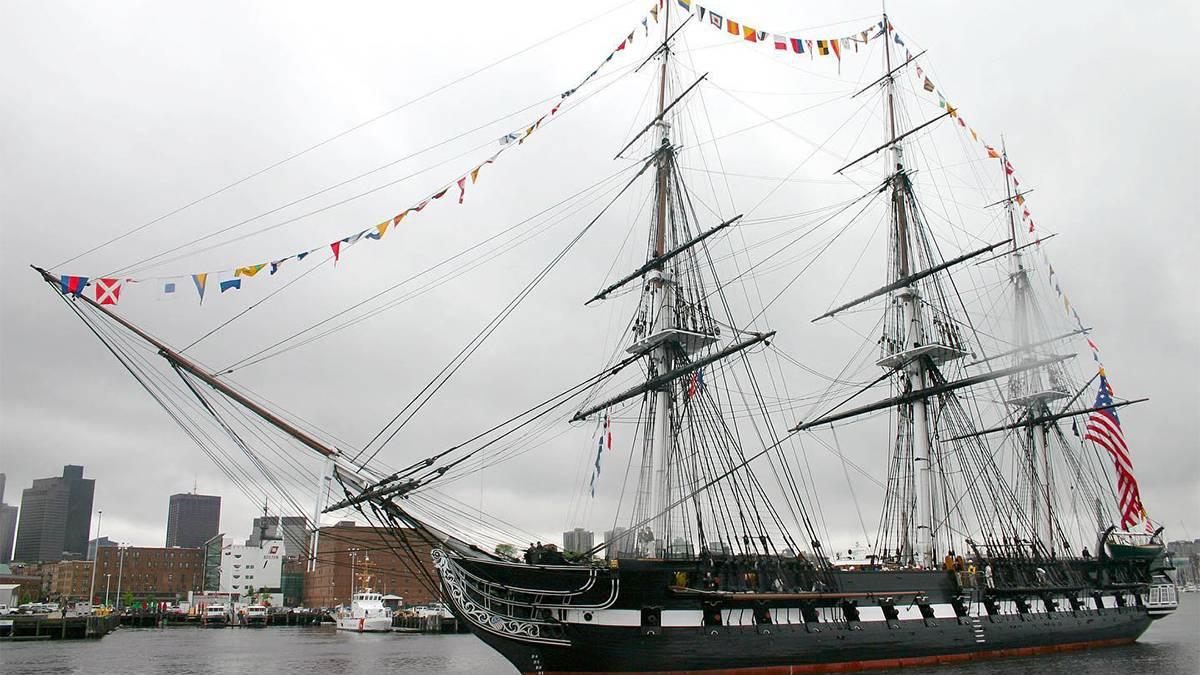 the USS Constitution ship sailing in the Boston harbor in Boston, Massachusetts, USA