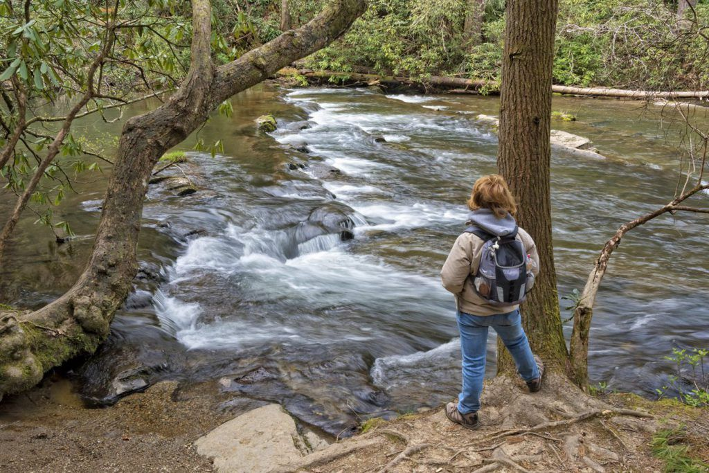 hiker looking at abrams falls waterfall in gatlinburg tennessee