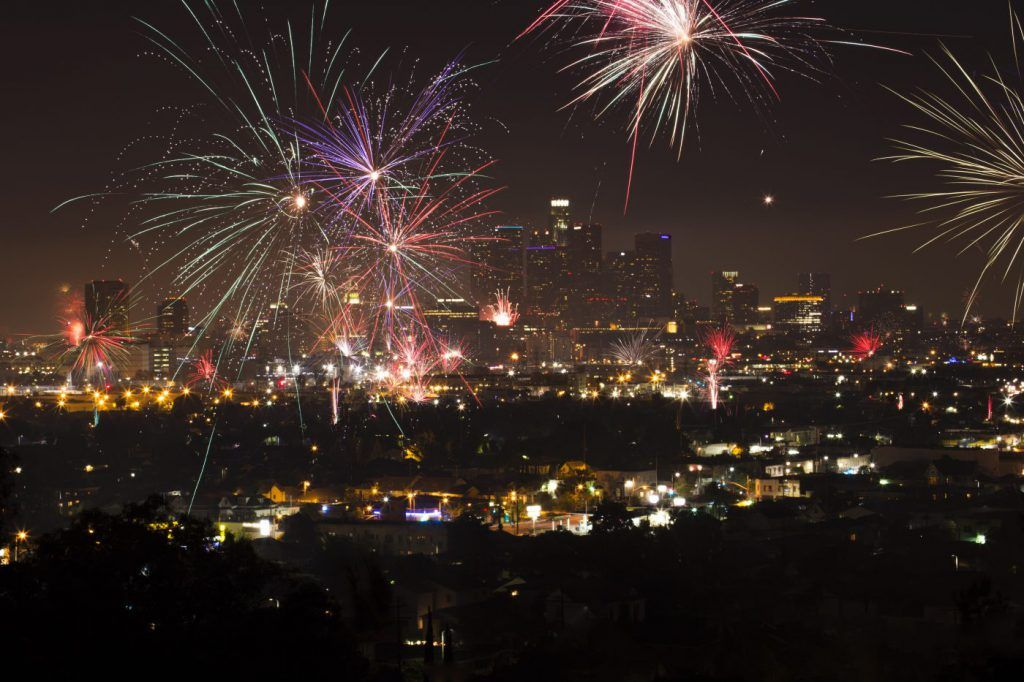 firework over city for fourth of july celebration in Los Angeles, California, USA