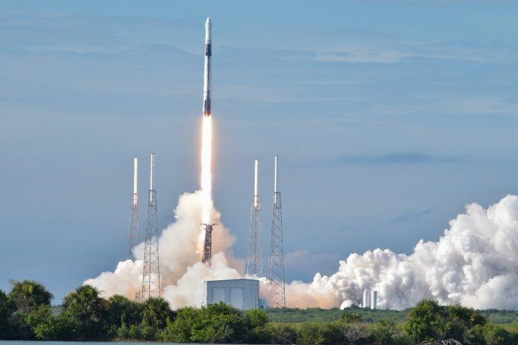 rocket taking off with Falcon 9 SpaceX in Orlando, Florida, USA