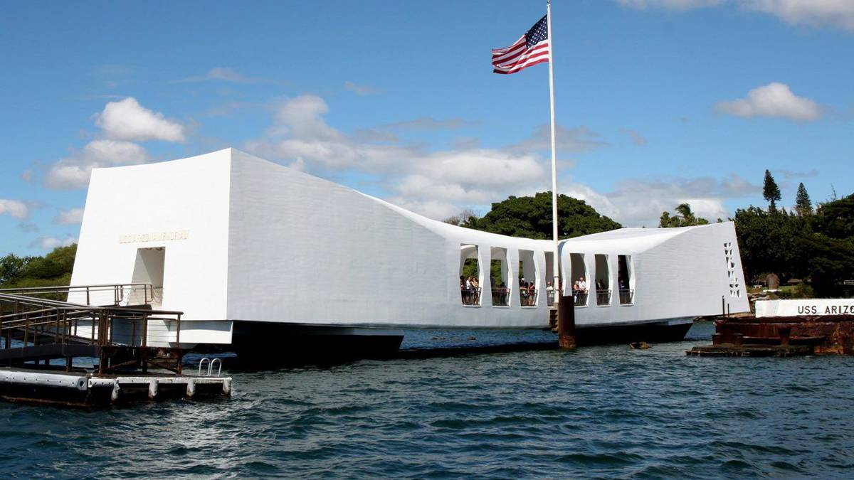 External View of Pearl Harbor National Memorial with American flag flying on Oahu, Hawaii, USA