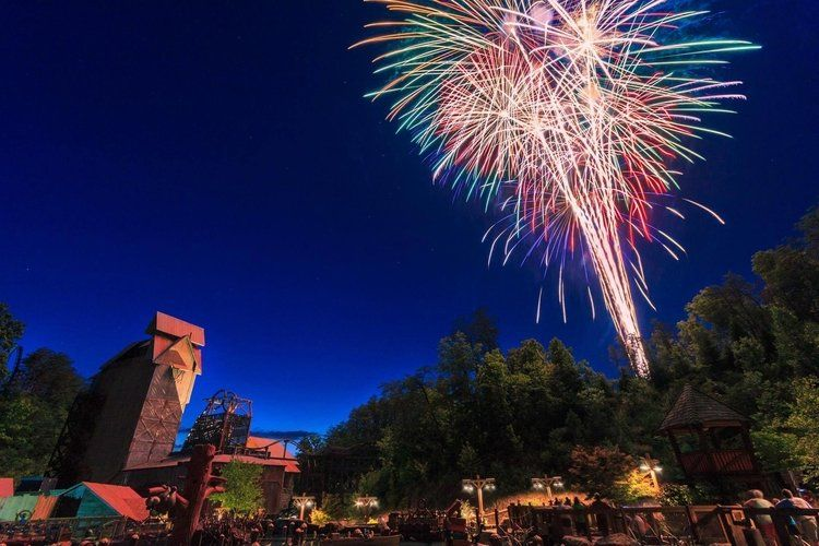 multicolored fireworks over dollywood in Pigeon Forge, Tennessee, USA