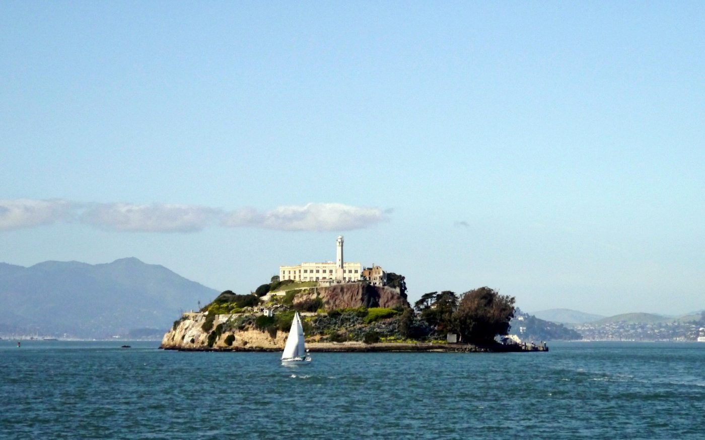 view of alcatraz island during daytime with sail boat