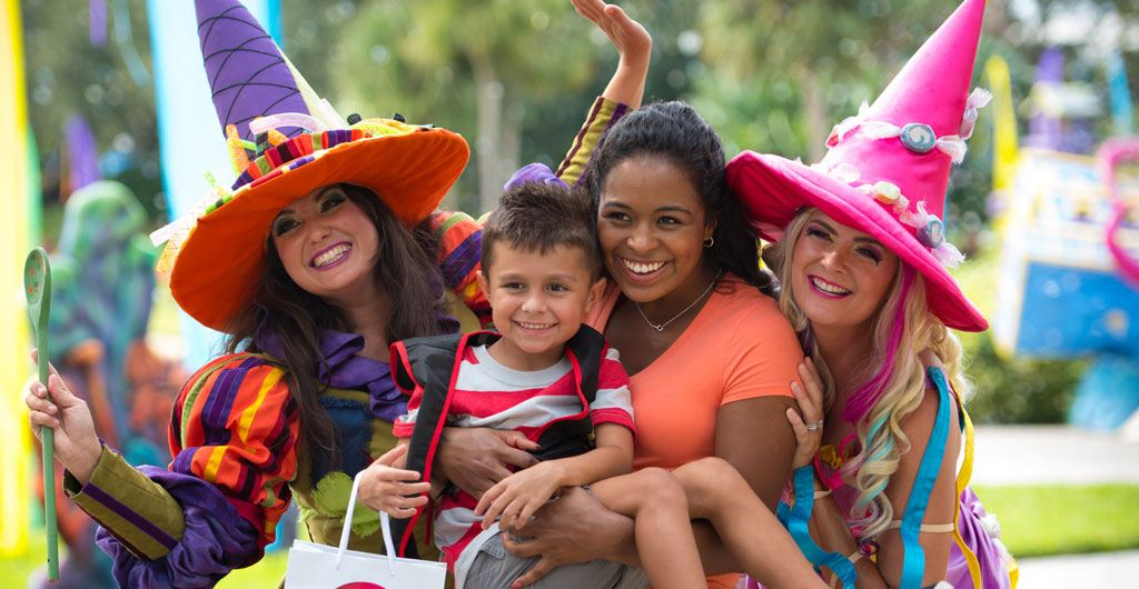 parents and children dressed for Halloween at SeaWorld Orlando's Spooktacular