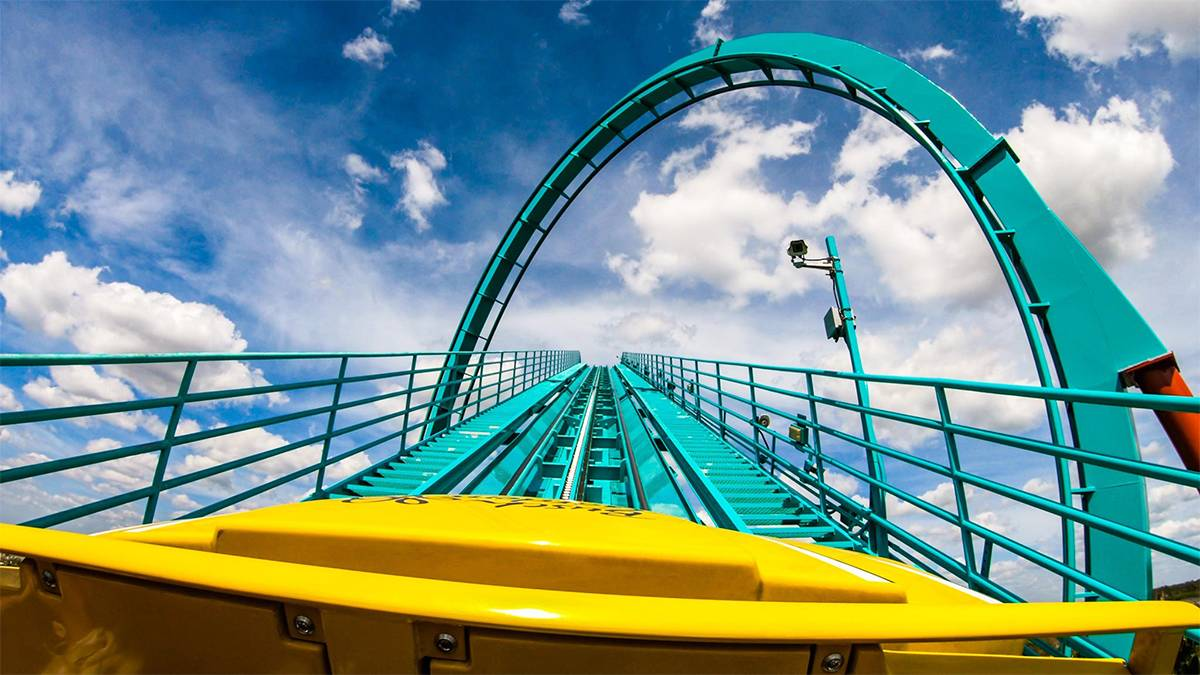 ground view of Cheetah Hunt roller coaster ride on a sunny day in Busch Gardens Tampa, Florida, USA