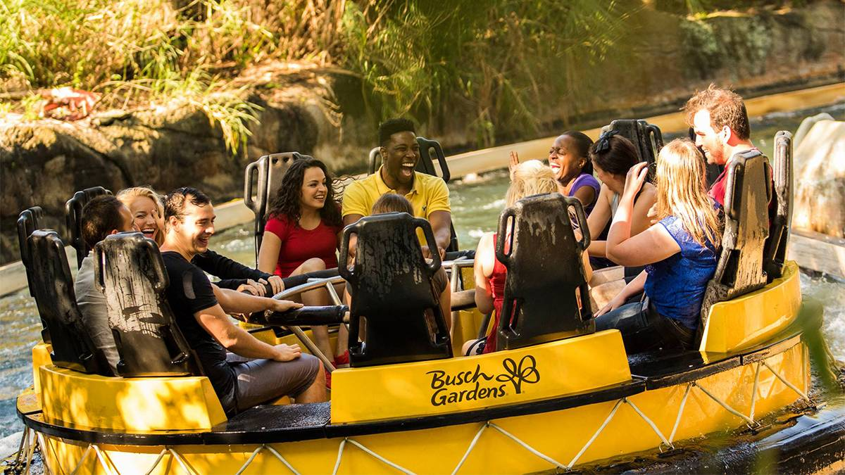 close up of guests riding the Congo River Rapids ride at Busch Gardens Tampa, Florida, USA